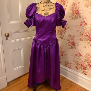 Vintage Purple Satin Prom Dress
